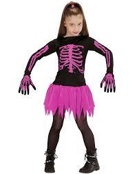 Girls Skeleton Halloween Costumes by Pink Skeleton For Girls Vegaoo