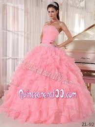 quinceaneras dresses beading strapless floor length pink quinceanera dress with ruffles