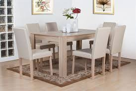 dover white oak effect wooden dining table and 6 high back chair
