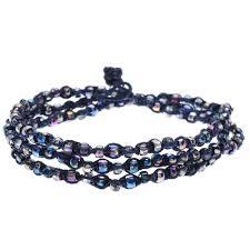macrame bracelet with beads images Triple wrap twisted macrame bracelet in blue beadaholique jpg