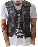 amazon com faux real men u0027s big tall biker tattoo t shirt with