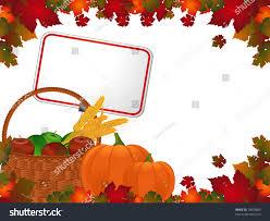 pumpkins border clipart autumn leaf border basket apples corn stock vector 79859800