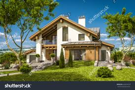 3d rendering modern cozy house chalet stock illustration 626534720