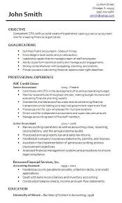 resume template for accounting chartered accountant cv example