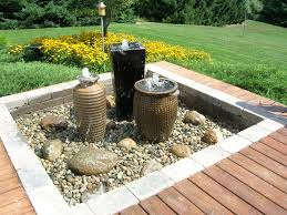 three pottery jar water fountains for backyard garden of charming
