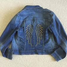 best denim jacket w wings on back price reduced to 12