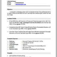 resume format for freshers electrical engineers pdf