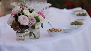 outdoor table setting at wedding reception fine restaurant dinner