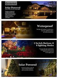 Christmas Outdoor Decorations Montreal by Qedertek Solar Christmas String Lights Outdoor 72ft 200 Led Fairy