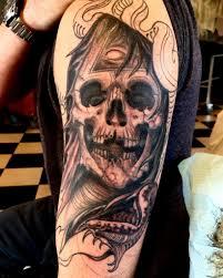 skull and snake in black and grey blackwood studio