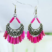 cheap earrings shimmering tubular white pink bead dangling earrings cheap jewelry