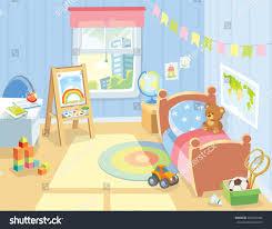 Childrens Bedroom Cozy Childrens Bedroom Interior Furniture Toys Stock Vector