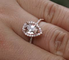 gold and morganite engagement rings 14k gold 9x6mm morganite pear and diamonds wedding or