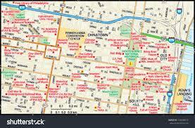 Philadelphia Pa Map Philadelphia Pennsylvania Downtown Map Stock Vector 144049618