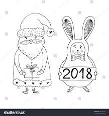 santa claus character rabbit christmas happy stock vector