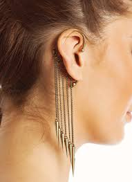 cuff earrings with chain this statement ear cuff is a stunning with chain fringe