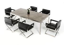 Concrete Chrome Rectangular Dining Table Modern - Chrome kitchen table
