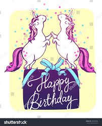magic unicorns confetti happy birthday greeting stock vector