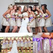 silver sequin bridesmaid dresses sweetheart bridesmaid dress with a purple sash shining silver