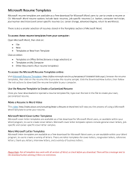 Microsoft Cover Letter Templates For Resume Free Resume Templates For Microsoft Word Resume Template And
