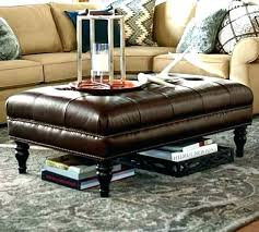 Leather Ottoman Tufted Leather Ottoman With Shelf Intuitivewellness Co