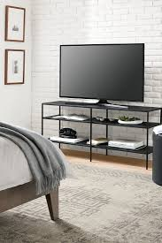 slim media console in natural steel consoles media storage and