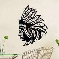 online buy wholesale native american wall from china native dctop native american indian chief wall decal art decor sticker vinyl mural home decor wallpaper removable