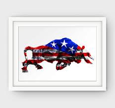 texas art print usa flag art geometric bull art american flag