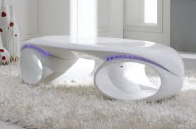 Contemporary White Coffee Table by Tron Contemporary Glossy White Coffee Table With Led Lights