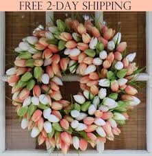 spring door wreaths coral tulip silk spring door wreath 19 inch the wreath depot
