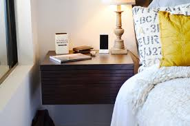 Bedside Table Designs by Nice Floating Bedside Table Featuring Polished Wooden Body With