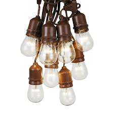 Commercial Grade Patio Light String by 100 Foot S14 Edison Outdoor String Lights Suspended Commercial