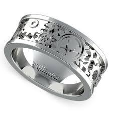 gear wedding ring gear channel men s wedding ring in platinum