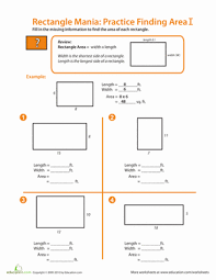rectangle mania finding area worksheet education com
