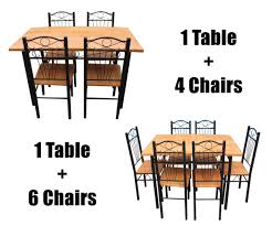 Metal Kitchen Chairs New Kitchen Dining Set With Table Chairs Metal Frame Wood Seat
