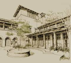 mediterranean courtyard pen and pencil rendering this