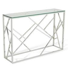 Glass Console Table Betty Glass Console Table With Polished Stainless Steel