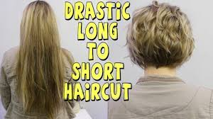 drastic long to short womens haircut youtube