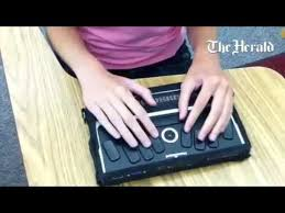 Blind Write Blind Student Janie Brunson 18 Uses A Braille Note To Read And