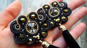 soutache earrings handmade soutache earrings black and gold with tassels