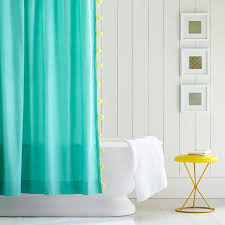 Shower Curtain Teal Color On Color Tassel Shower Curtain Pool Pbteen