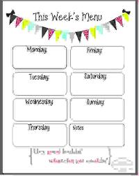 blank menu templates free 7 weekly menu template procedure template sle
