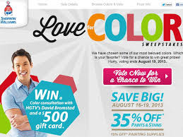williams company love for color anniversary celebration sweepstakes