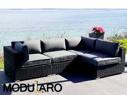 rattan lounge sofa poly rattan lounge sofa 4 modules modularo black dancovershop uk
