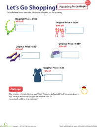 percent practice 6 let u0027s go shopping worksheet education com