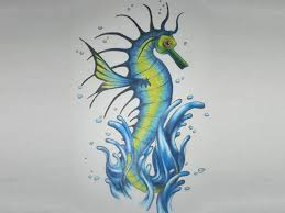 seahorse on water splash tattoo design photos pictures and
