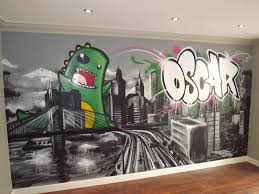 107 best my painting business possibilities images on pinterest children teen kids bedroom graffiti mural hand painted graffiti skyline and dino feature wall design design