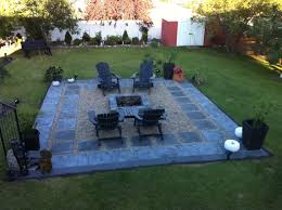 charcoal slate patio stones with pea stone gravel a square fire