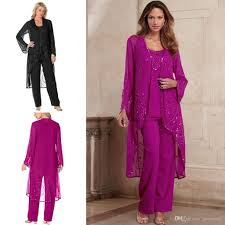 2016 fuchsia mother of bride pant suit chiffon formal mother u0027s