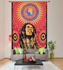 bob marley one love one world red hippie tapestry